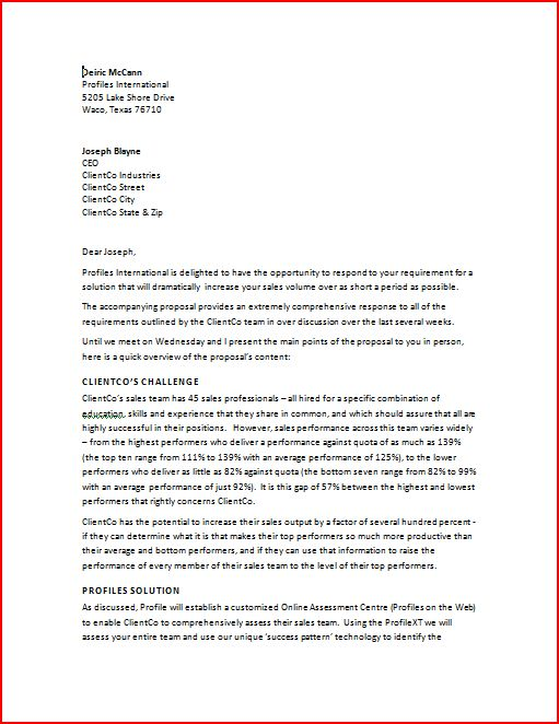 Business Proposal Letter – Cover Letter for Business Proposal Sample