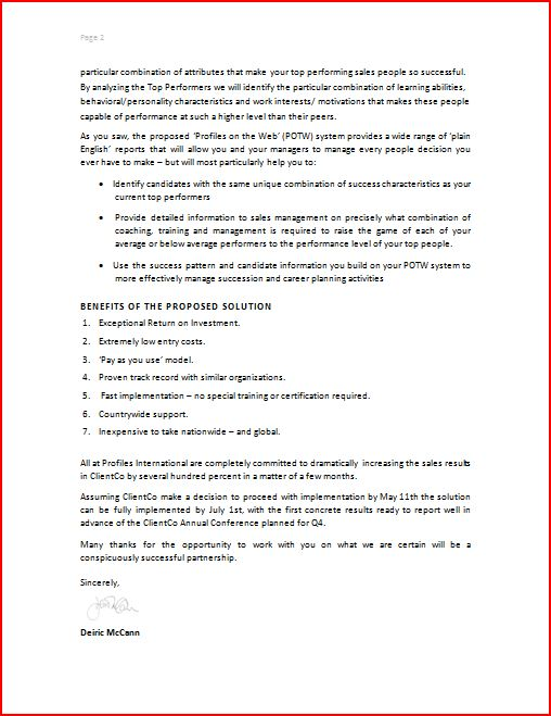 Business Proposal Letter – Commercial Proposal Format