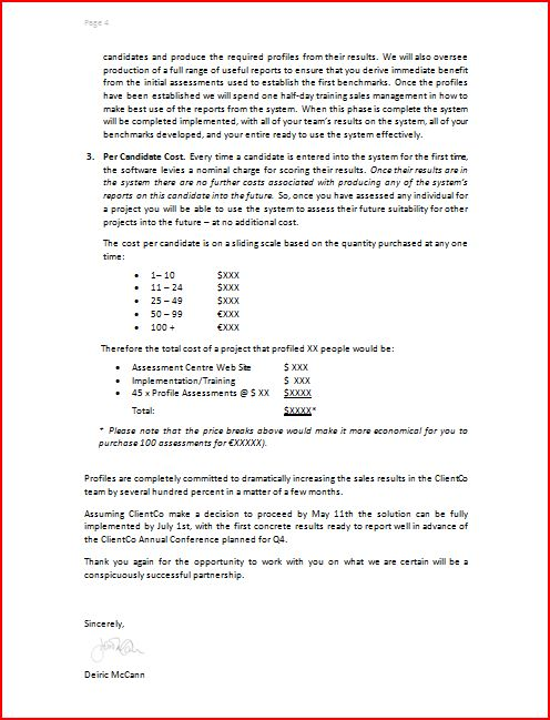 Proposals Sample – Format for Proposal Letter